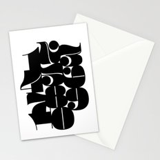 Numbers Black Stationery Cards