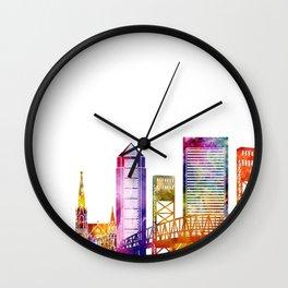 Jacksonville landmarks watercolor poster Wall Clock