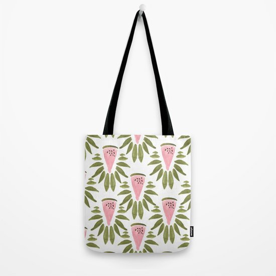 Watermelon and Leaves Tote Bag