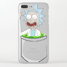 Rick middle finger space portal in a pocket Clear iPhone Case