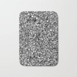 Dark Grey Monochrome Speckles Terrazzo Pattern Stone Effect Bath Mat