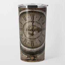 Brown Grunge Vintage Steampunk Clock Travel Mug