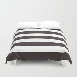 Black coffee - solid color - white stripes pattern Duvet Cover
