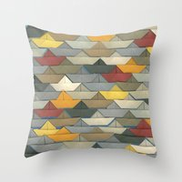 boats Throw Pillows featuring Boats by GLOILLUSTRATION