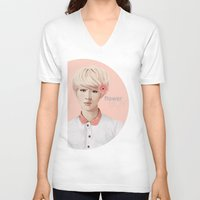 exo V-neck T-shirts featuring Flower Boy - Luhan by emametlo