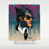 karl Shower Curtains featuring wolvereen  vs Karl Lagerfeld  by el brujo