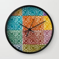 rave Wall Clocks featuring Aztec Rave by Andrea Hock