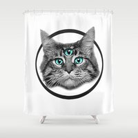 third eye Shower Curtains featuring Third Eye by Aninditya Kusumah