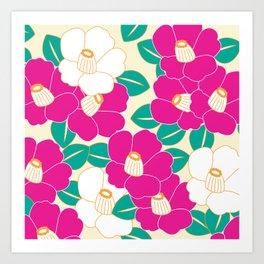 Shades of Tsubaki - Pink & White Art Print