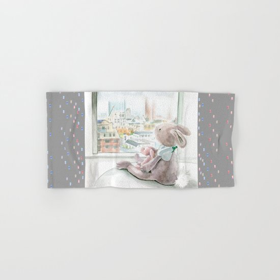 """City Bunnies - """"Looking For Tokyo Tower On A Foggy Day"""" Hand & Bath Towel"""