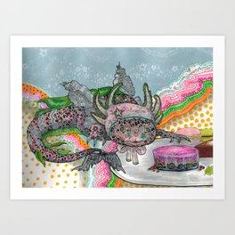 Girl with an Axolotl Bonnet Art Print