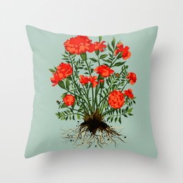 Marigold plant flower portrait with sage background Throw Pillow