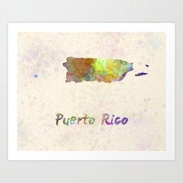 Puerto Rico  in watercolor Art Print