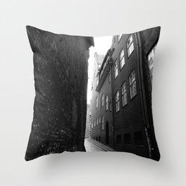 The alley photo in black and white Throw Pillow