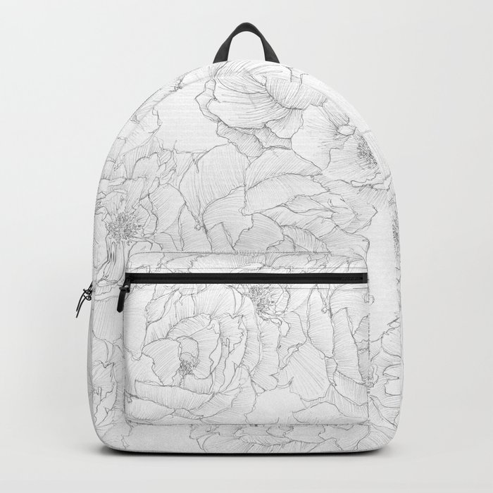 Peony Flower Pattern Backpack