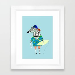 surfer zebra Framed Art Print