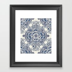 Floral Diamond Doodle in Dark Blue and Cream Framed Art Print