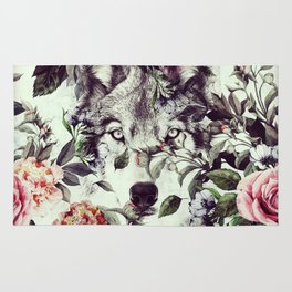 Floral Wolf Rug