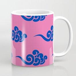 Chinese Wind Symbols in Blue + Pink Porcelain Coffee Mug