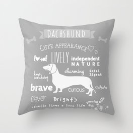 Dachshund black and white Throw Pillow