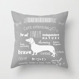 Dachshund black and white Throw Pillow