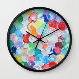 Polka Daub Rainbow Oysters Wall Clock