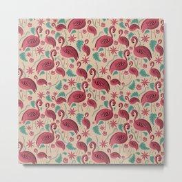 Flamazing day flamingos pattern orange background Metal Print