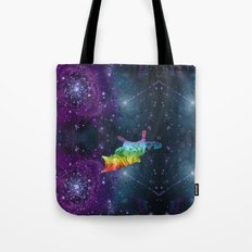 Rainbow Kitty Floating in Space Tote Bag