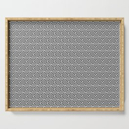 Black and White Greek Key Repeating Square Pattern Serving Tray