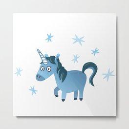 Blue unicorn illustration, Lost in stars Metal Print