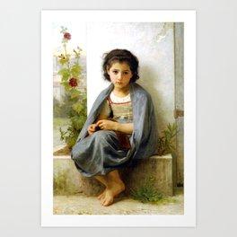 """William-Adolphe Bouguereau """"The Little Knitter"""" Art Print"""