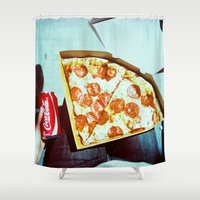 coke Shower Curtains featuring Pizza and a Coke by Devic Fotos