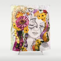 flora Shower Curtains featuring Flora by Jenndalyn