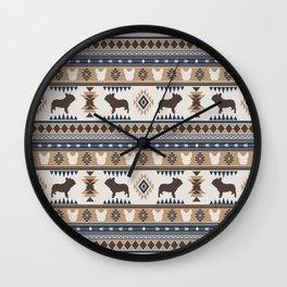 Boho dogs | French bulldog tan Wall Clock