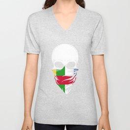 Central African Republic Skull Shirt Unisex V-Neck
