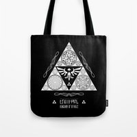 hyrule Tote Bags featuring Legend of Zelda Kingdom of Hyrule Crest Letterpress Vector Art by Barrett Biggers