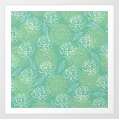 Pastel Peony and Leaf Pattern Design  Art Print