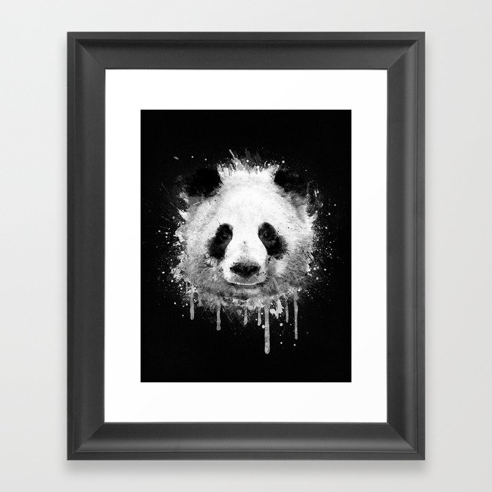 Cool Abstract Graffiti Watercolor Panda Portrait In Black White Framed Art Print