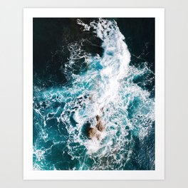 Waves and Sunshine from above – Ocean Photography Art Print