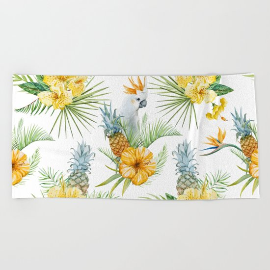 Pineapple Pattern 02 Beach Towel