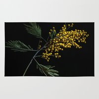 soviet Area & Throw Rugs featuring Silver Wattle Flowers by digital2real