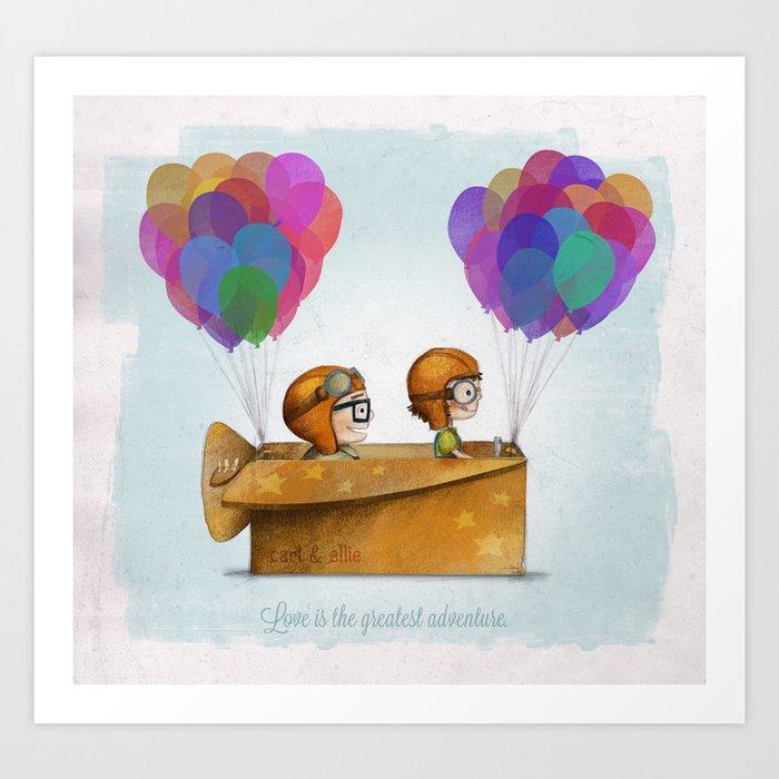 UP Pixar— Love is the greatest adventure  Kunstdrucke