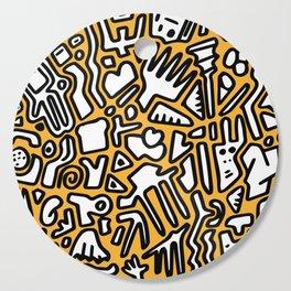black doodle on orange Cutting Board