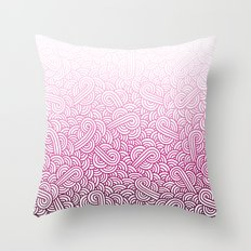 Gradient pink and white swirls doodles Throw Pillow