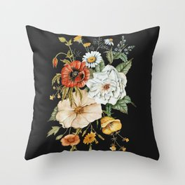 Wildflower Bouquet on Charcoal Throw Pillow