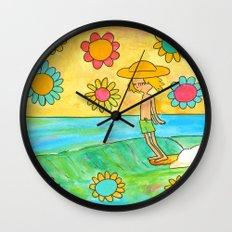 hang 10 groovy surf dude flower power Wall Clock
