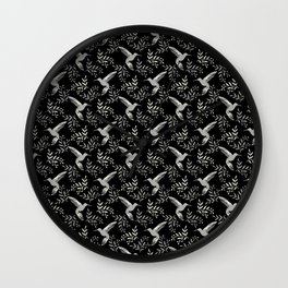 Pretty beautiful hummingbirds, delicate little leaves black and white elegant stylish pattern. Gift Wall Clock