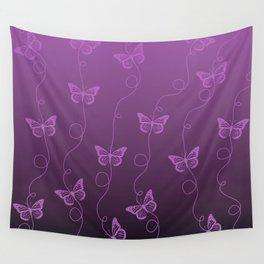 Purple Butterflies Pattern Wall Tapestry