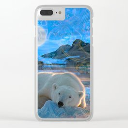 Just Chilling and Dreaming (Polar Bear) Clear iPhone Case