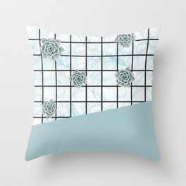 Succulents geometric composition - Mint Green Throw Pillow